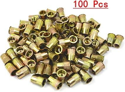 M6 Carbon Steel Rivet Nuts Zinc Plated Yellow Nutsert Flat Head Insert 50 Pieces