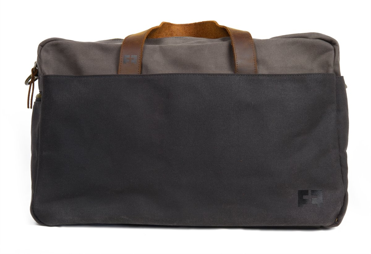 Waxed Cotton Canvas Duffel Bag with Leather Handles | the Whitman Weekender Duffel by FAT FELT