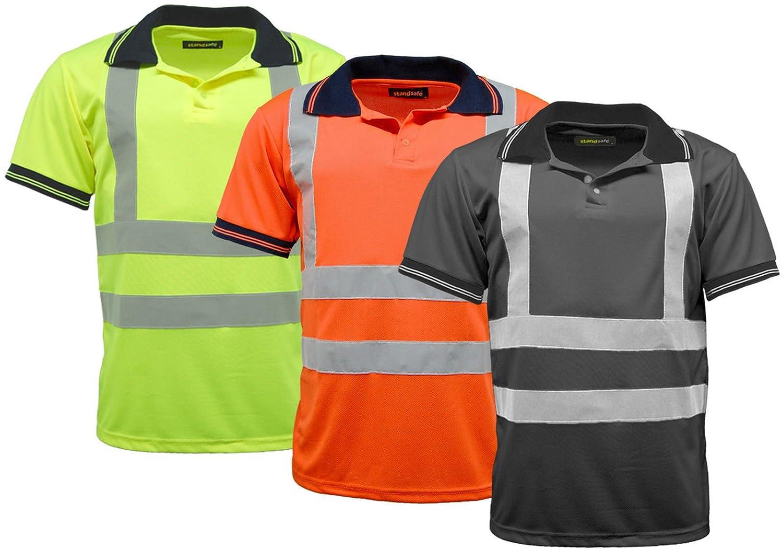 Mens Polo Shirts Hi Vis High Viz Visibility Short Sleeve Safety