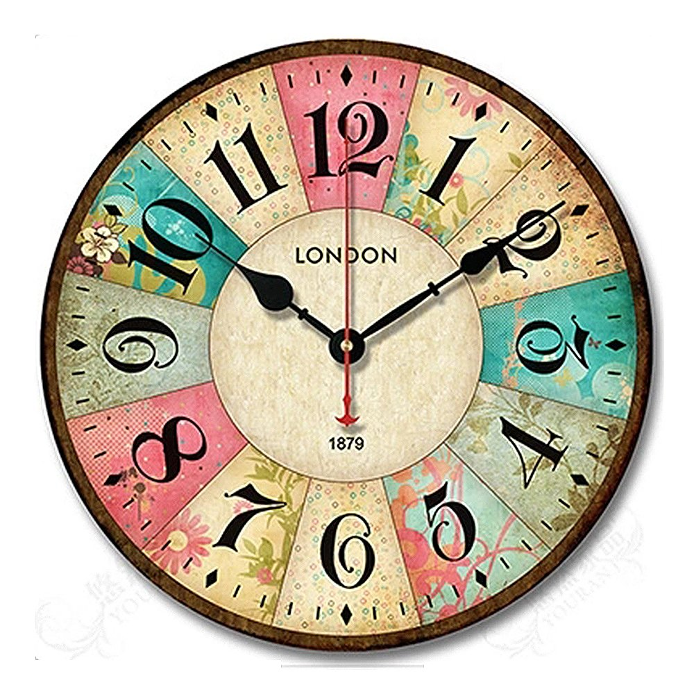iCasso Vintage France Paris Colourful French Country Tuscan Style Non-Ticking Silent Wood Wall Clock (12 inch Flowers)