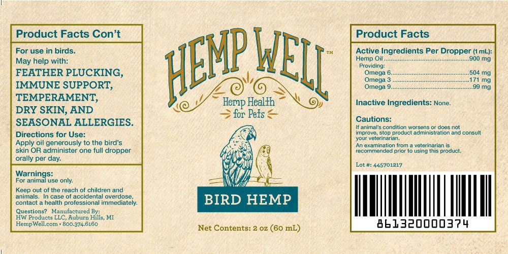 Bird Hemp - Supports The Immune System, Helps with Feather Plucking, curbs Destructive Behavior and Promotes Relaxation by Hemp Well