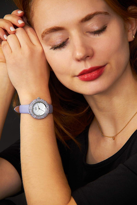 Burgi Swarovski Colored Crystal Watch - A Genuine Diamond Marker on a Slim Leather Strap Elegant Women's Wristwatch - Mothers Day Gift - BUR227 Baby Blue