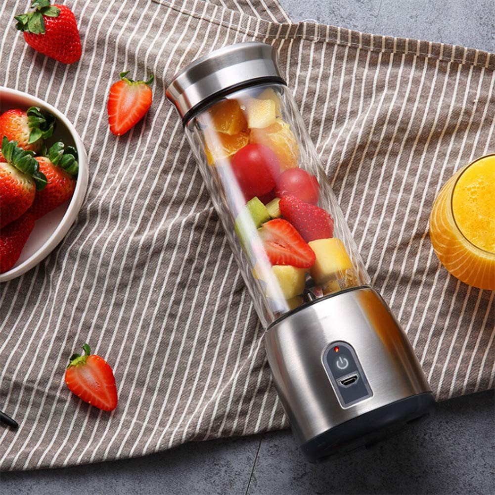 USB Rechargeable Personal Glass Smoothie Blender Portable Blender Juicer Cup Brown Multifunctional Small Travel Blender For Shakes And Smoothies Single Serve Fruit Mixer