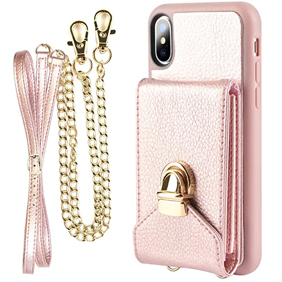 san francisco c67df a9ca1 iPhone Xs Card Holder Case, ZVEdeng iPhone X Wallet Case with Wrist  Crossbody Strap, iPhone X Crossbody Case, Mini Crossbody Bag for Women -  Rose Gold