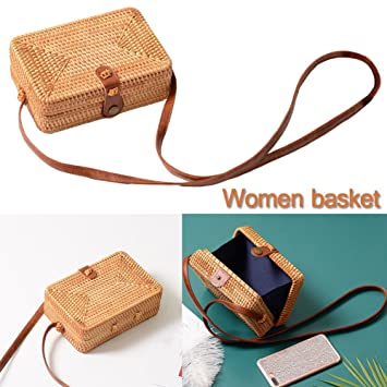 cheerfullus Small Square Shoulder Bag Vintage Bohemian Rattan Woven Summer Beach Bag for Women