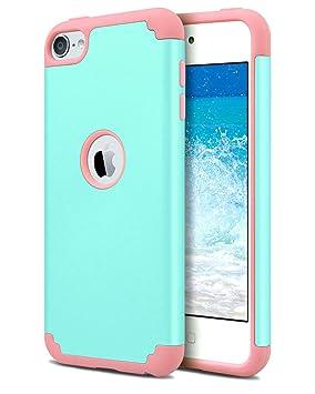 Dailylux iPod 5/6 Carcasa,iPod Touch 7 Funda,Carcasa Delgado de Doble Capa híbrido de Silicona PC Duro Cubierta de la Caja Protectora para iPod Touch ...