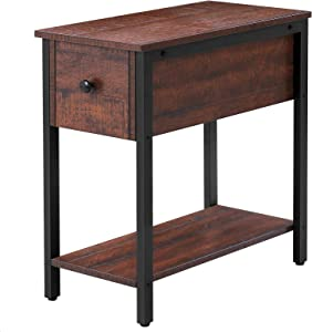 HOOBRO Side Table, 2-Tier Nightstand with Drawer, Narrow End Table for Small Spaces, Stable and Sturdy Construction, Wood Look Accent Furniture with Metal Frame, Walnut Color BY04BZ01