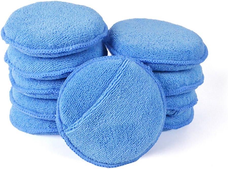 "Autocare Microfiber Wax Applicator, Ultra-Soft Microfiber Wax Applicator Pads with Finger Pocket Wax Applicator for Cars Wax Applicator Foam Sponge (Blue, 5"" Diameter, Pack of 10): Automotive"