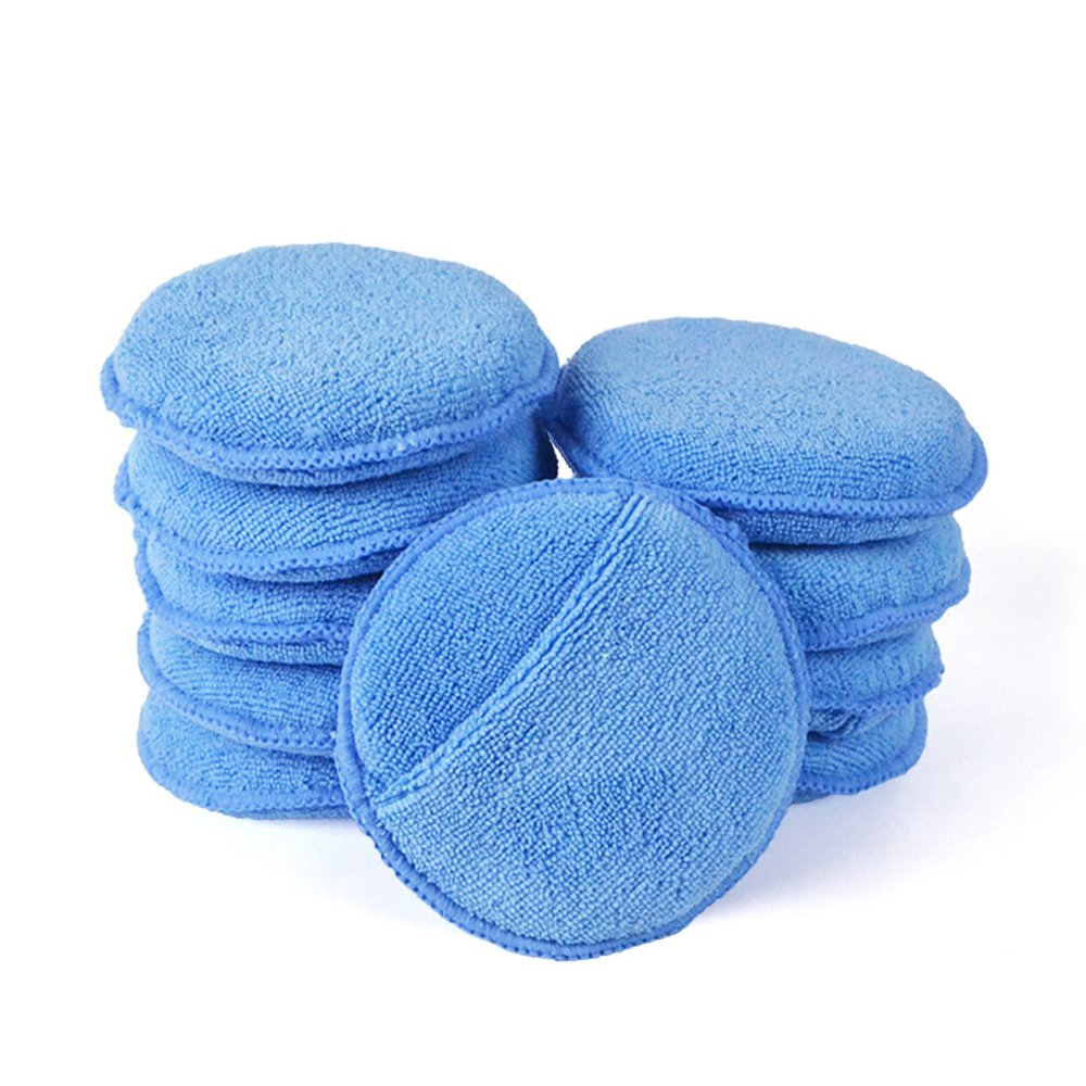 Microfiber Wax Applicator, AutoCare Ultra-soft Microfiber Wax Applicator Pads with Finger Pocket Wax Applicator for Cars Wax Applicator Foam Sponge (Blue, 5'' Diameter, Pack of 10)