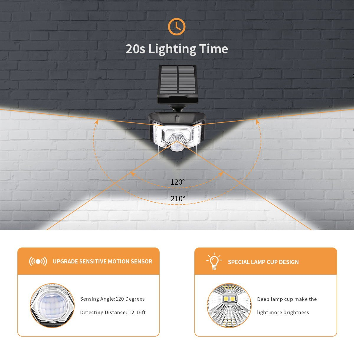 Luces Solares para Exteriores Sunix, Luz con Sensor de Movimiento 8 LEDs de energía solar con Iluminación de gran ángulo, Luces Solares Impermeables IP65 ...