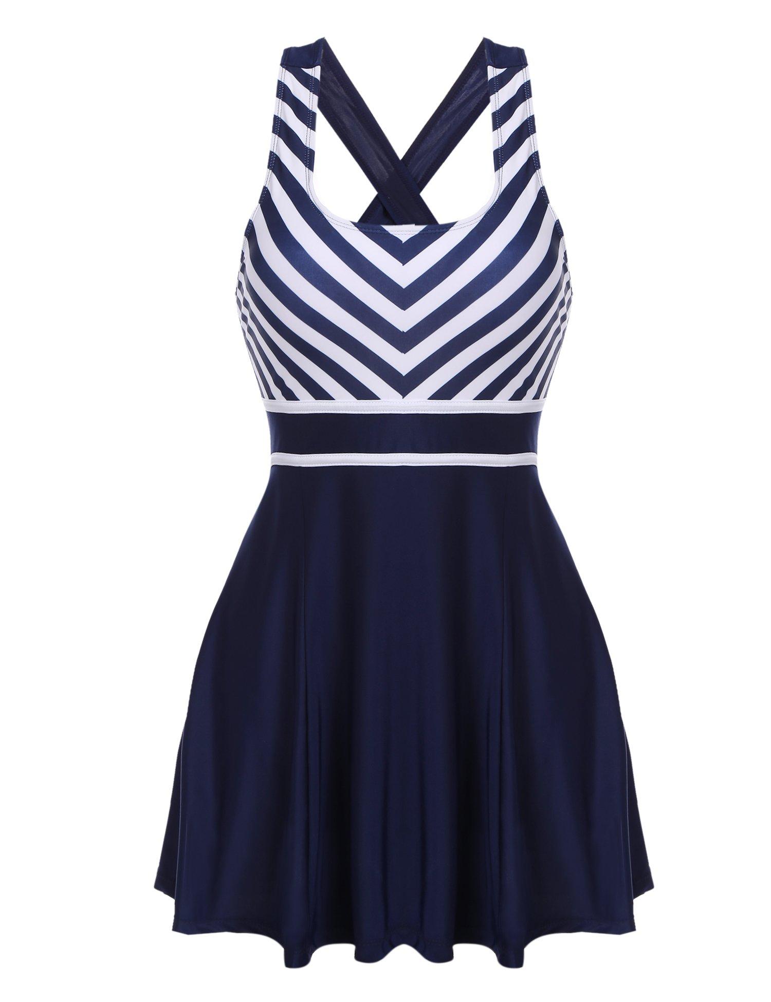 ADOME Women's High Waist Striped Printing Swimsuit Bathing Swimwear(Navy Blue,M)