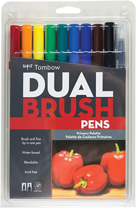 Tombow 56167 Dual Brush Pen Art Markers Primary 10 Pack Blendable Brush And Fine Tip Markers