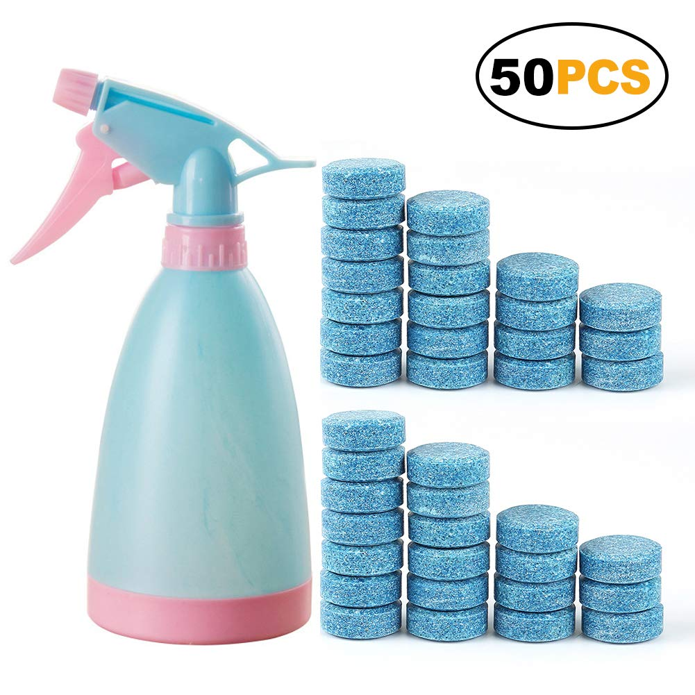 100 PCS Window Cleaning Tablets Bonus 1 Cleaning Spray Bottle, Car Windscreen Cleaner Multifunctional Effervescent Spray Cleaner SONWVE