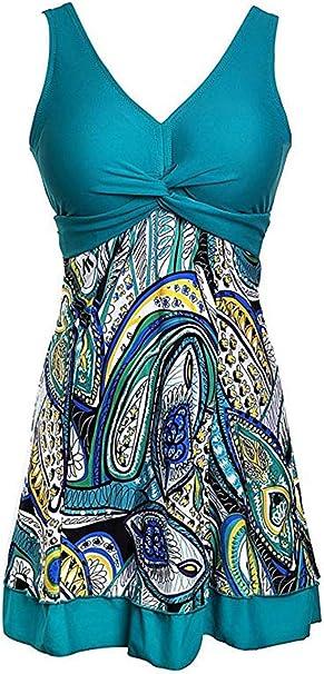 Ecupper Damen Badekleid High Waist V-Ausschnitt mit Shorts Plus Size Einteiler Badeanzug