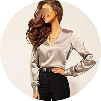 ece8c5838e25ac Don't mention the past 2019 Sexy Fashion V Neck Satin Blouse Shirt Casual  Long Sleeve Button Women's Slim Blouses at Amazon Women's Clothing store: