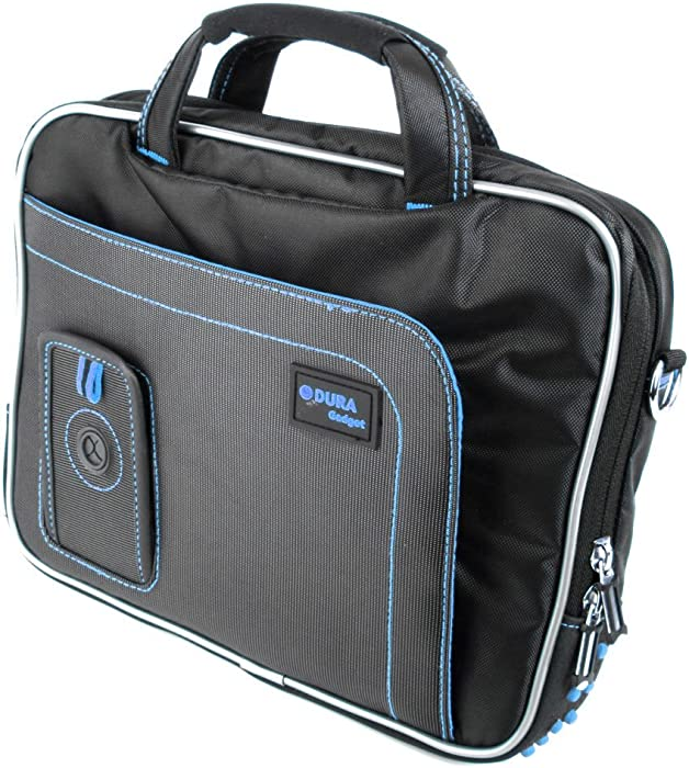 DURAGADGET Black & Blue Water Resistant Case w/Accessory Storage - Compatible with Dell Inspiron Duo   Latitude 10.1-Inch & XPS 13 Ultrabook