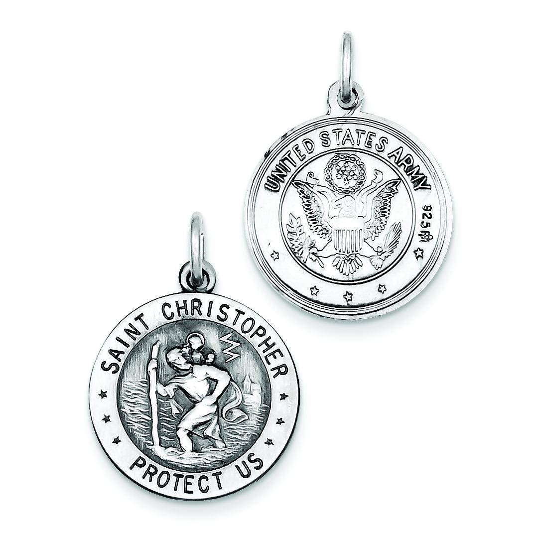 Sterling Silver US Army Emblem St. Christopher Charm
