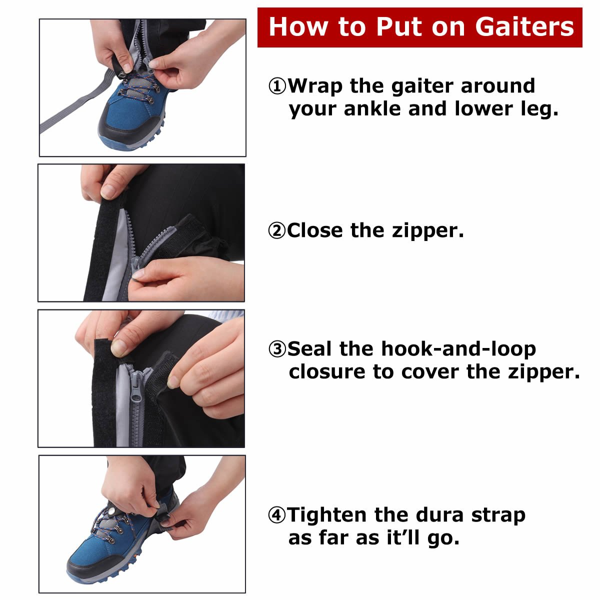 Macks.i Outdoor Unisex Waterproof Camping Hiking Gaiters High Leg Cover 1pair with a Free Shoe Bag by Macks.i (Image #4)