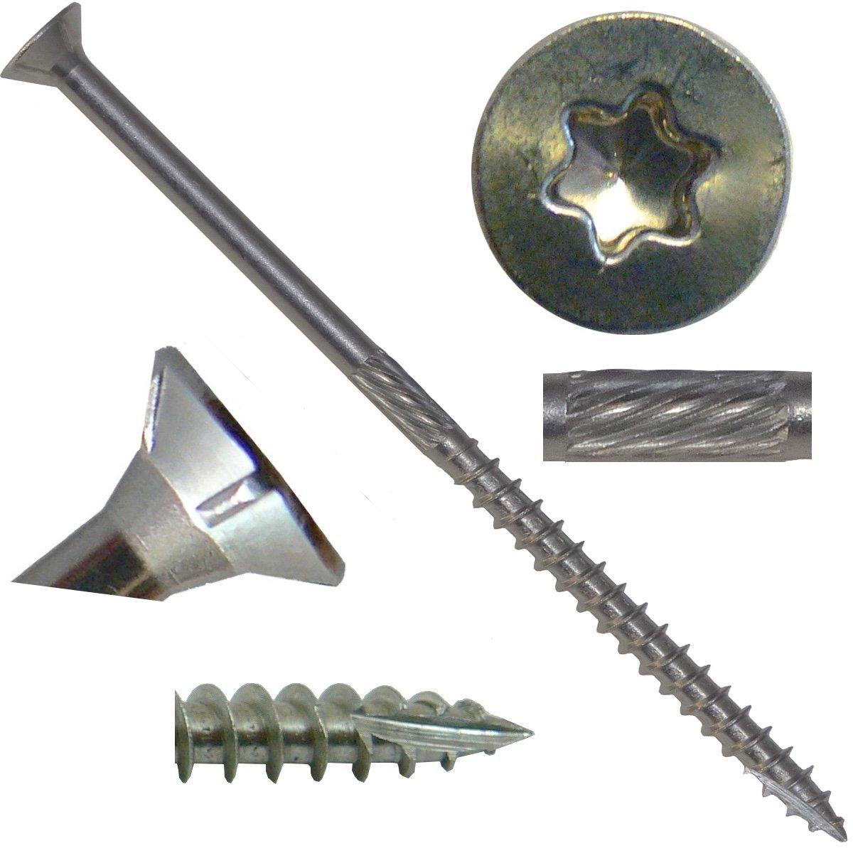 #10 x 4'' Silver Star Stainless Steel Wood Screw Torx/Star Drive Head (Full Box - 1000 Approx. Screw Count) - Grade 305 Stainless Steel Torx/Star Drive Wood Screws