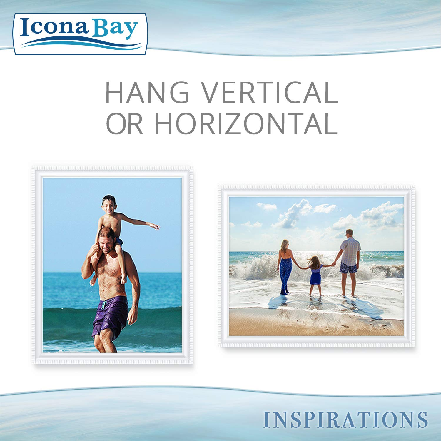 Icona Bay 8x10 Picture Frames (6 Pack, White) Picture Frame Set, Wall Mount or Table Top, Set of 6 Inspirations Collection by Icona Bay (Image #4)