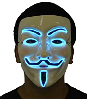 JenniWears V for Vendetta Guy Fawkes LED Anonymous Rave Scary Mask EL Wire for Halloween Party
