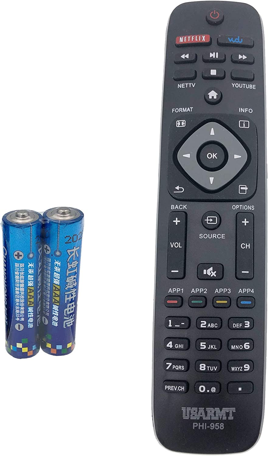 TV Remote Control for Philips 4000 Series LED-LCD TV 32PFL4609/F7 by QINYUN