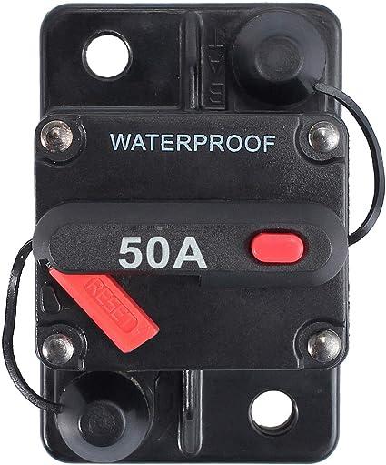 50AMP FUSE BREAKER CIRCUIT BREAKER WATERPROOF W// MANUAL POWER RESET FOR MARINE