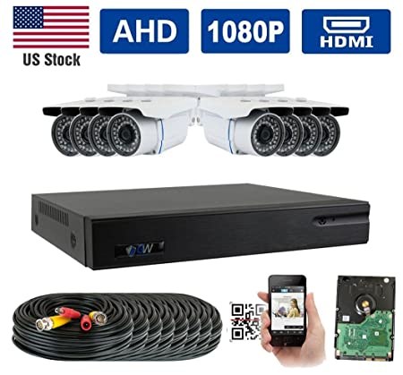 GW Security New 5-in-1 8CH 1080P DVR Video Surveillance Camera System 8 1080P 2.1 Megapixel Outdoor 34 IR LEDs 100ft Weatherproof Night Vision Bullet Security Camera