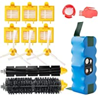 efluky 4000mAh Ni-MH Replacement Roomba Battery + Replacement Accessory Part Kit for iRobot Roomba 700 Series 700 760 770 780 790 - a Set of 14