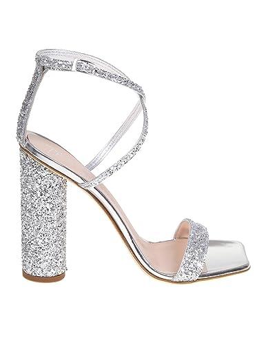 25ccdf7c6ea2 Amazon.com  Giuseppe Zanotti Design Women s E900079003 Silver Leather  Sandals  Shoes