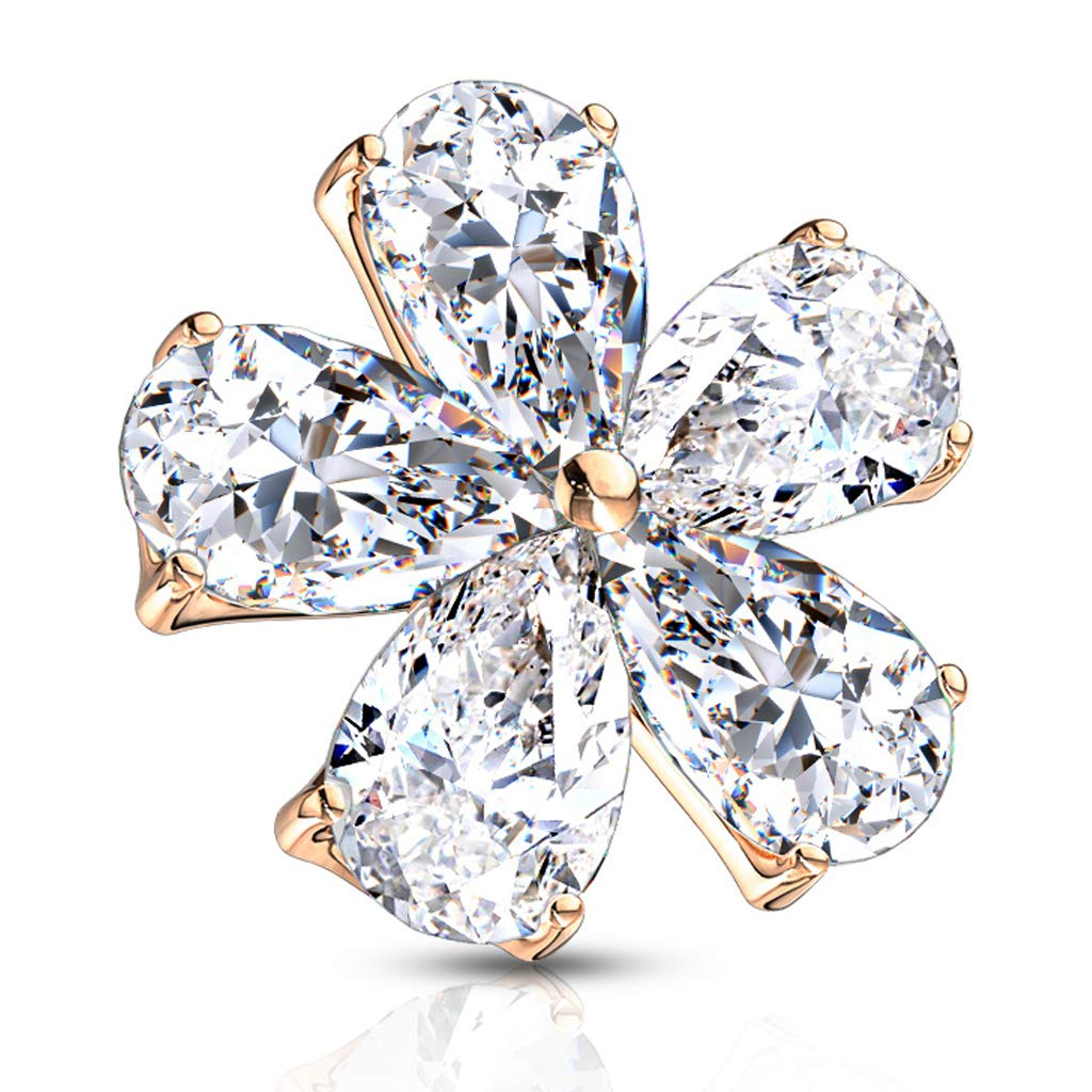 14G FifthCue Five Pear CZ Flower 316L Surgical Steel Internally Threaded Dermal Anchor Top - Choose Color JQSAC04