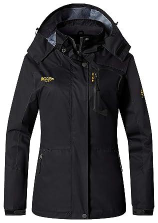 Wantdo Women s Sports Outdoor Hooded Softshell Rain Jacket Waterproof Jacket  Black 6f3fe76ea400