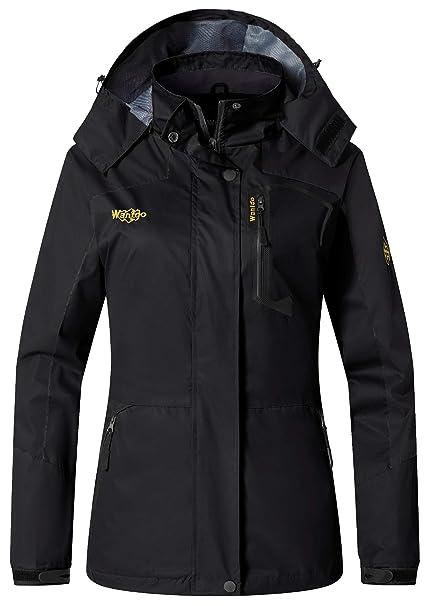 Wantdo Women s Sports Outdoor Hooded Softshell Rain Jacket Waterproof Jacket  Black 068bf4efe7