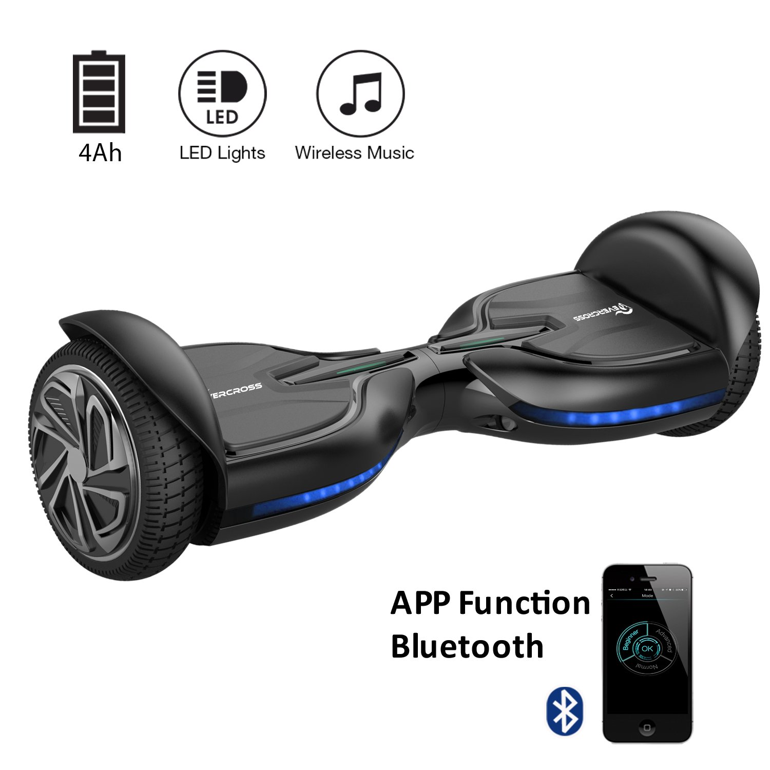 EVERCROSS Diablo Hoverboard Patinete Eléctrico Scooter talla  Bluetooth Negro