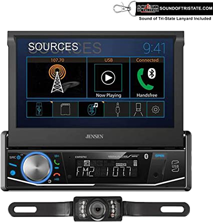 w//License Plate Back up Camera with Sound of Tri-State Lanyard Bundle Does not Play CDs Jensen CMR3710 Single Din 7 Motorized Touchscreen Digital Multimedia Receiver