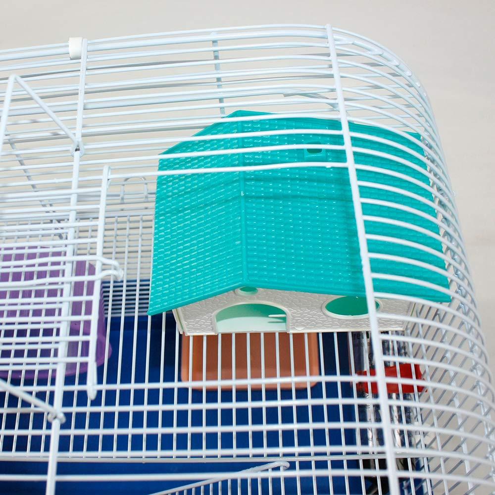 DZL®Jaula Hámster Chalé jaulas Hamsters Palacio metálico 39,5x29 ...