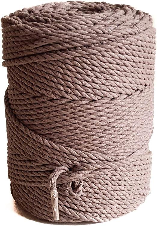 MB Cordas - Cuerda de macramé de 4 mm, cuerda de algodón de color marrón, cuerda de algodón para macramé, color marrón: Amazon.es: Juguetes y juegos