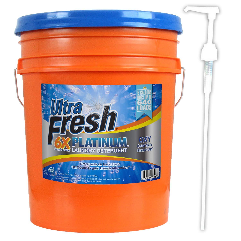 Ultra Fresh Platinum Bleach Alternative Liquid Laundry Detergent, HE, 5 Gallons (640 oz
