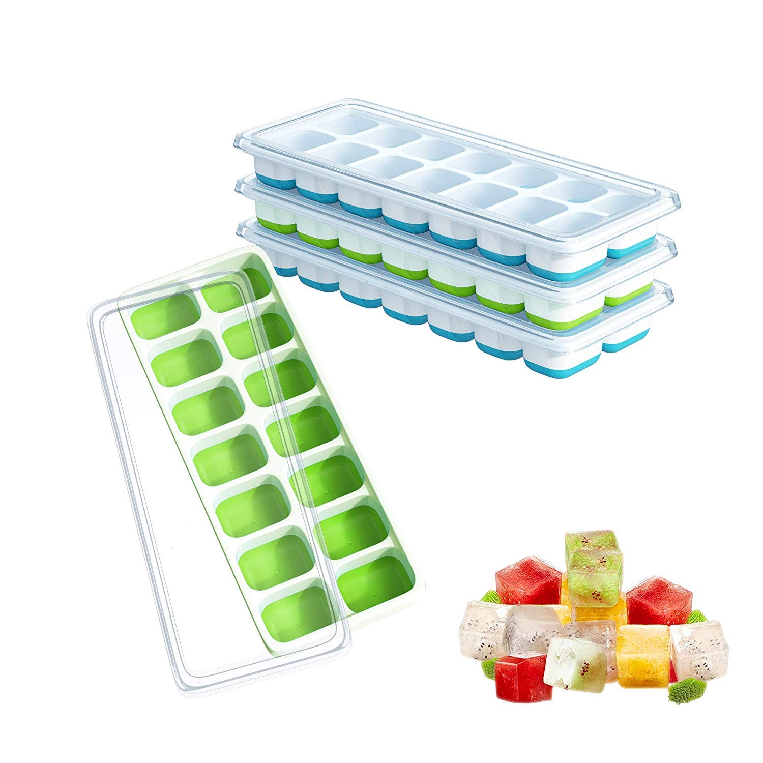 Ouddy 4 Pack Ice Cube Trays with Lid, Silicone Ice Cube Molds, 14-Ice Trays Can Make 56 Ice Cubes, Stackable Durable (Blue & Green) by Ouddy