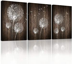 Canvas Wall Art For Living Room Family Bedroom Wall Decor Modern Wall Decorations For Kitchen Abstract Paintings Bathroom Canvas Art Dandelion Flowers Wall Pictures Artwork Home Decoration 3 Pieces