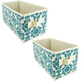"""DII Fabric Storage Bins for Nursery, Offices, & Home Organization, Containers Are Made To Fit Standard Cube Organizers (11x5.5x5.5"""") Scroll Teal - Set of 2"""