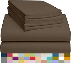 """LuxClub 6 PC Sheet Set Bamboo Sheets Deep Pockets 18"""" Eco Friendly Wrinkle Free Sheets Hypoallergenic Anti-Bacteria Machine Washable Hotel Bedding Silky Soft - Tree Bark Queen"""