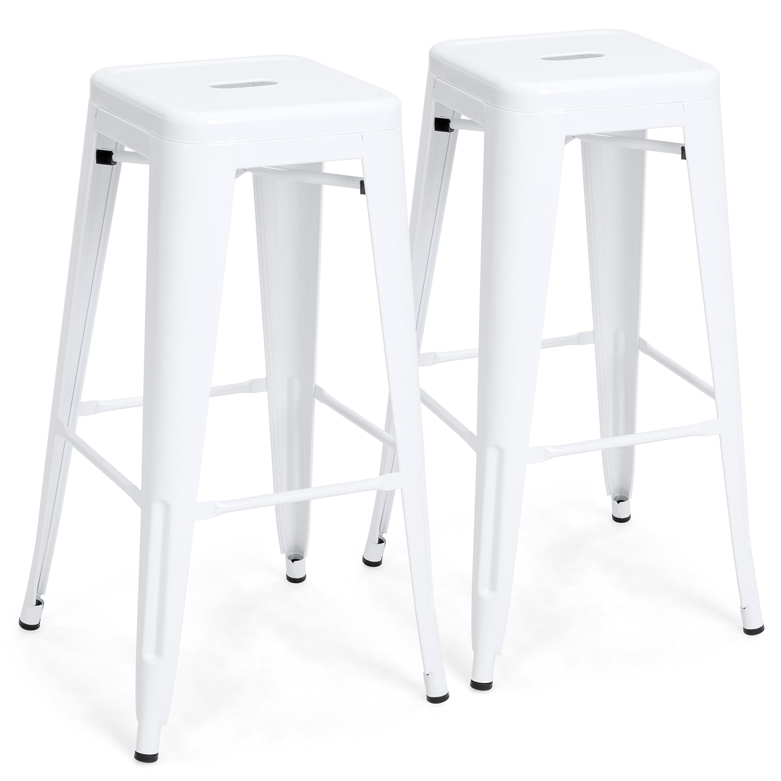 Best Choice Products 30in Set of 2 Modern Industrial Backless Metal Counter Height Bar Stools - White