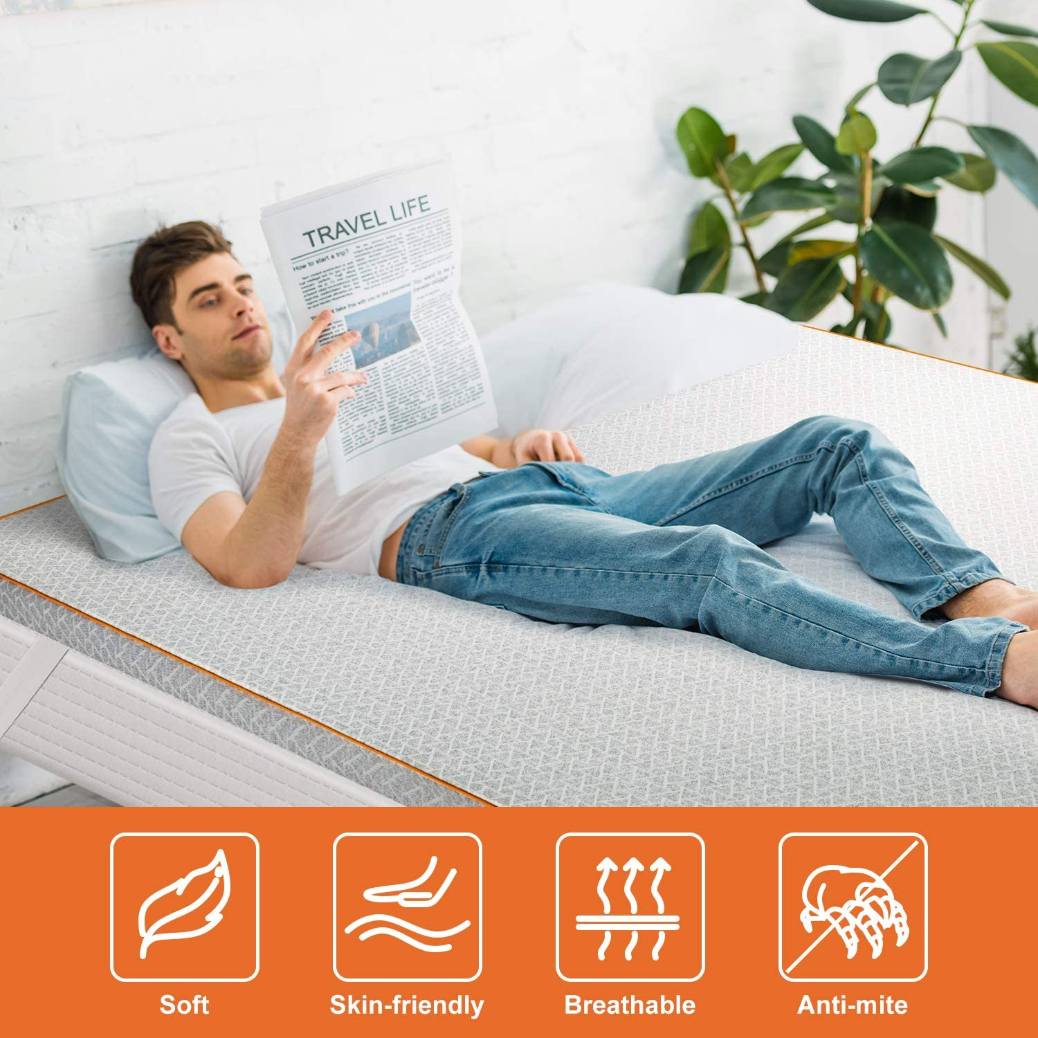 """Maxzzz 2"""" Bamboo Charcoal Infused Memory Foam Mattress Topper, Hypoallergenic & Odor-Resistant Foam Toppers for Bed with Washable Cover, Ventilated & CertiPUR-US Certified Foam Bed Topper, Full Size: Kitchen & Dining"""