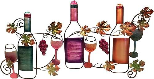 Benzara Classy Metal Based Wine Wall D cor, Multicolor