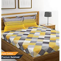 Ahmedabad Cotton 144 TC Cotton Bedsheet with 2 Pillow Covers - Yellow, Grey