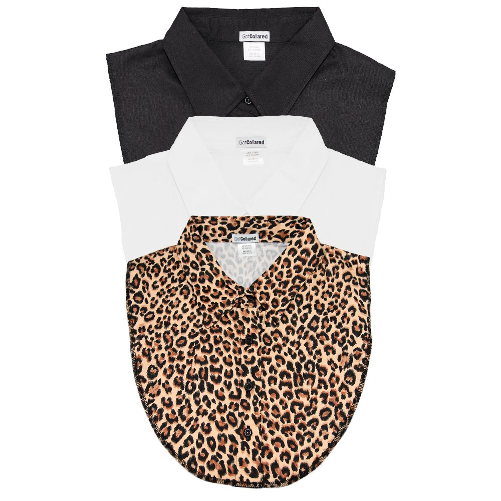 LS Parry Inc. Unisex-Adult's 3Pk Black/Leopard/White Collared Dickies by IGotCollared, One Size by LS Parry Inc.