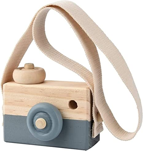 Airlxf Wooden Camera Toy, Baby Kids Cute Mini Sharpe Toy Neck Hanging Photographed Props for Baby Toddlers Children Kids' Room Hanging Decor (Gray)