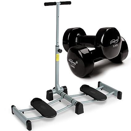 Physionics - Máquina de entrenamiento para tonificar las piernas con set de mancuernas de vinilo de