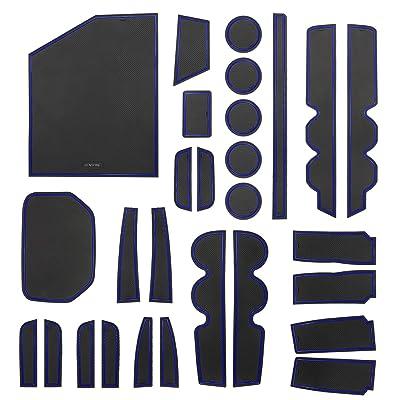 SENSHINE Console Liner Cup Liner for Toyota Tundra 2020 2020 2020 2020 2016 2015 2014 Door Mat Interior Accessories Kit(Bucket Seat, Blue Trim): Automotive
